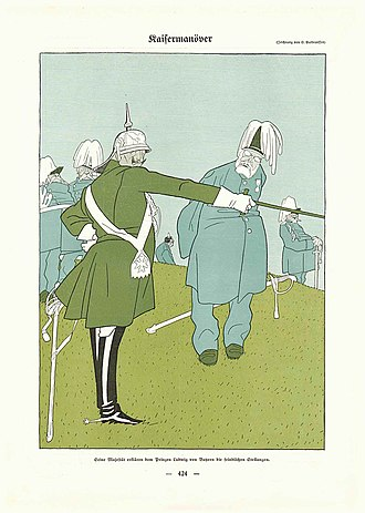"Caricature by Olaf Gulbransson 1909: ""Manoeuvre: Emperor William II explains the enemy's positions to Prince Ludwig of Bavaria"" Gulbransson cartoon 1909.jpg"