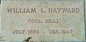 Bill Hayward - Hayward's grave marker at Rest-Haven Cemetery