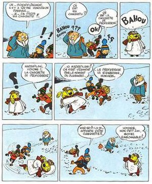 """Jijé - Blondin, Cirage, Prof. Labarbousse and guest star """"Marsupilami Africanis"""" in Les soucoupes volantes (1954)"""
