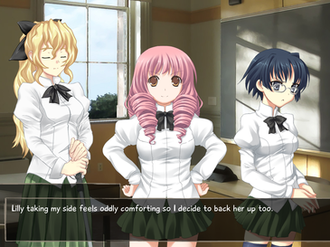 Katawa Shoujo - A scene from the early part of the game showing (left to right) Lilly, Misha, and Shizune.