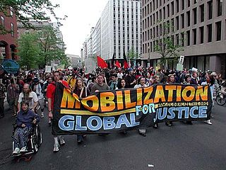 Activists protest policies of the World Bank in Washington, DC