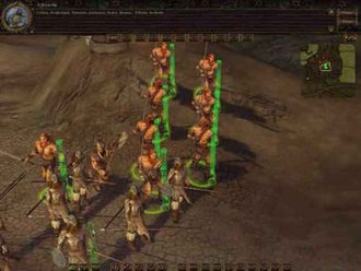 Myth (series) - Screenshot of Myth III showing the 3D character models in a 3D terrain. The previous games in the series utilized a 3D terrain, but had used 2D sprites rather than fully 3D units.