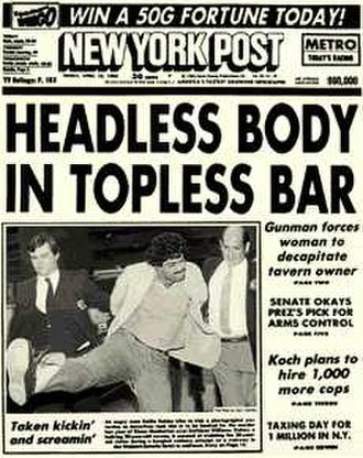 New York Post - One of the paper's most famous headlines, from the edition of April 15, 1983