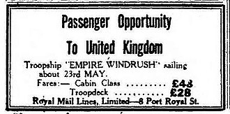 HMT Empire Windrush - Advert for passage on Empire Windrush from Kingston, Jamaica to the UK, The Daily Gleaner, 15 April 1948