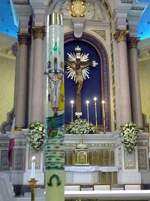 Paschal candle - The Paschal candle of Cubao Cathedral following the Easter Vigil, Quezon City, the Philippines, 2013.
