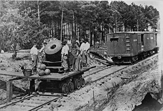Industrial warfare - The advent of railroads (such as this one during the American Civil War) allowed armies to cover larger distances in shorter times while suffering minimal fatigue.
