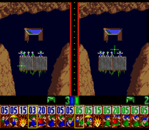 Lemmings (video game) - In two-player mode, each player can only control lemmings of their own colour but attempt to guide any lemming to their own goal.