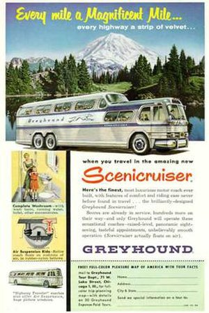 PD-4501 Scenicruiser - Greyhound ad showing a Scenicruiser