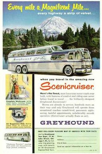 PD-4501 Scenicruiser - Greyhound ad showing a Scenicruiser