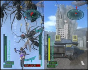 Global Defence Force - Split screen co-operative mode. The player on the left is controlling the PaleWing soldier. The player on the right, controlling the infantryman, is driving a tank.