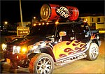Sting Energy Drink's Hummer traveling down the streets of Karachi.
