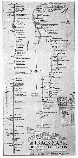 Metropolitan Street Railway (Toronto) - Image: TYRR route map