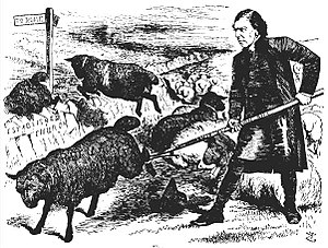 "Arthur Tooth - Illustration from ''Punch'' Magazine, showing Archbishop Tait, trying to control the ""Ritualist black sheep"" with his crook called the ""Public Worship Regulation Bill"""