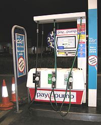 Tesco supermarket petrol pump at night