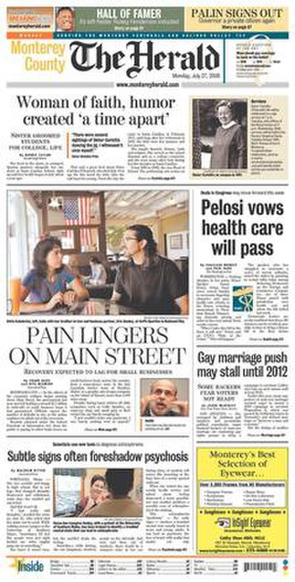 The Monterey County Herald - Image: The herald front page 7 27 09
