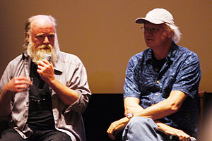 Phil Tippett - Tippett (left) with Dennis Muren at a screening of Jurassic Park 3D in 2013.