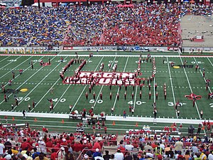 Pride of Acadiana - A view of the Pride of Acadiana marching band playing the fight song in the Louisiana Ragin Cajuns set during pregame at Cajun Field.