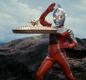 Ultra Seven - Ultra Seven fighting the robot/spaceship Narse in the episode Fly to the Mountain of Evil