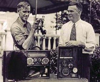 Ward Van Orman - May 30, 1928. Van Orman (left) and Walter Morton check instruments prior to the fatal flight that killed Morton