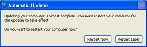 Windows Update - Automatic Updates 'Restart Required' in Windows XP SP1.
