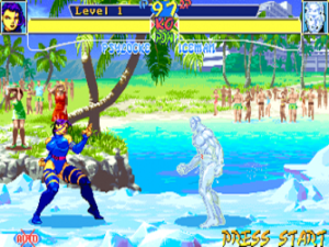 X-Men: Children of the Atom (video game) - Gameplay screenshot of a fight between Psylocke and Iceman