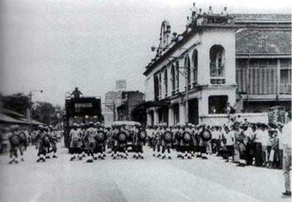 1969 race riots of Singapore - Reserve Unit Policemen lined the width of Bras Basah Road to reinforce the policemen nearby