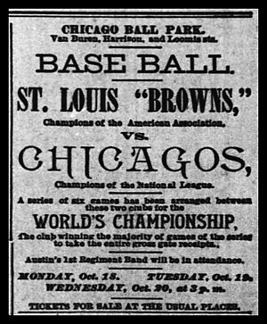 "1886 World Series - The 1886 Series between the St. Louis Browns and the ""Chicagos"" was billed as a ""World's Championship"" with a winner-take-all prize of the total gate receipts."
