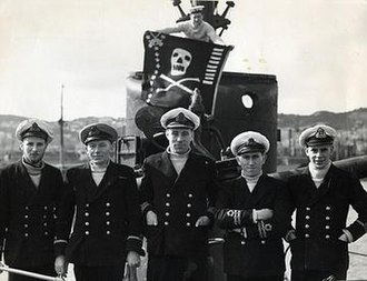 HMS Affray (P421) - Crew of HMS Affray. Lieutenant John Blackburn (far right) was in command and died in the disaster