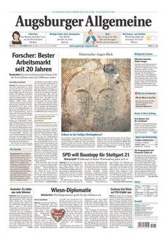 Augsburger Allgemeine - Image: Augsburger Allgemeine front page