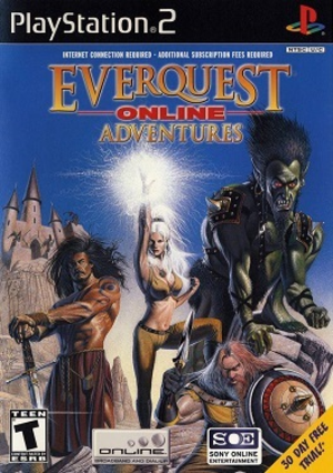 EverQuest Online Adventures - Original EverQuest box art (top) and Frontiers cover art (bottom)
