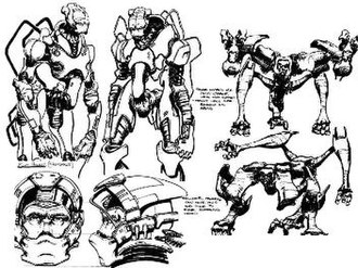 Descent: FreeSpace – The Great War - Sketches of the three main races of the game: Vasudans (top left), Shivans (right), Terrans (bottom left)