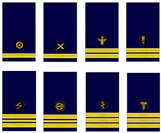 Uniforms and insignia of the Kriegsmarine - Staff officer emblems of the Kriegsmarine Engineering (Ing.), Weapons (W.), Coastal Artillery (M.A.), Mine Warfare (W.), Signals (N.T.), Torpedoman (T.), Medical (S.), Administration (V.)
