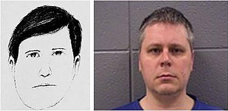 Murder of Amber Creek - Comparison of a police sketch and mugshot of James Eaton