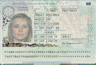 Jersey passport - The biodata page of the Jersey biometric passport