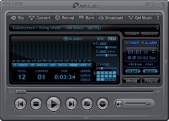 "JetAudio - The Main Window in JetAudio 8.0.17 wearing the ""Default Gunmetal Grey"" skin."