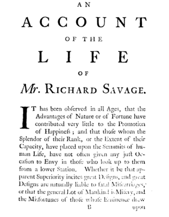 Life of Mr Richard Savage - Page one, Life of Savage