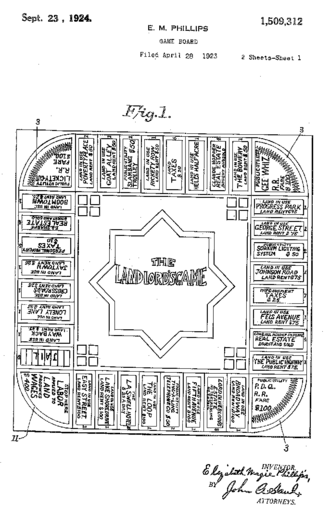 The Landlord's Game - First page of patent submission for second version of Lizzie Magie's board game, submitted in 1923 and granted in 1924