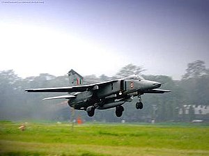No. 22 Squadron IAF - A Mig 27 of the No. 22 Squadron takes off from Hasimara Air Force Station