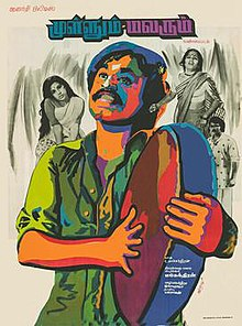 Painted poster of Kali (Rajinikanth) holding a hand drum. On his left is Manga (Jayalakshmi), top right is Valli (Shoba) and bottom right is Kumaran (Sarath Babu). Kali and the drum are painted in greens, reds, and blues. Manga, Valli, and Kumaran are coloured in greyscale.