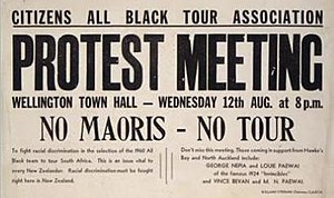 1981 South Africa rugby union tour of New Zealand and the United States - A poster advertising a meeting of the Citizens' All Black Tour Association to protest against racially selected All Blacks teams touring South Africa.