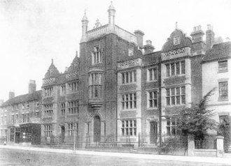 King Edward VI Five Ways School - A 19th century photograph of the school when it was at Five Ways island.