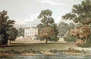 Pishiobury - Pishiobury Park, as remodelled or rebuilt in 1782–84 by Jeremiah III Milles (1751-1797) to the designs of James Wyatt. Coloured lithograph from Neale's, Views of Seats 1821