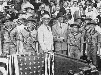 E. Urner Goodman - Goodman (far right) and Eagle Scouts with FDR (center) at Griffith Stadium ballgame