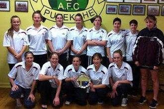 Pukekohe AFC - The 2013 Women's premier team with the Lotto NRFL Women's Premier League Plate
