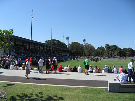 Redfern Oval, Rabbitohs vs Wests Tigers pre-season trial game, 8 February 2009. Redfern Oval RTR 2009.jpg