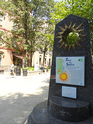 Sagan Planet Walk - The walk begins here: The Sun Obelisk at Center Ithaca. The Mercury Obelisk can be seen in the background.