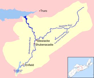 Shubenacadie River - Map of the Shubenacadie / Stewiacke River drainage basin