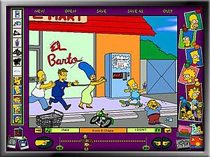 The Simpsons: Cartoon Studio - Example of a cartoon made on the game, involving Bart being chased by Marge, Homer and Principal Skinner while Ralph cries.