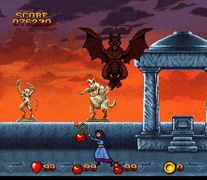 "Snow White: Happily Ever After (video game) - Snow White is fighting her evil step-uncle Maliss using ""fruit bombs"""