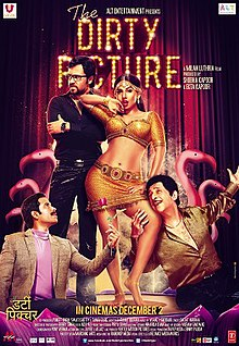 A poster that features four people. From left, a man wearing a suit kneels down with a rose in his hand. A man wearing glasses looks away with a disgruntled expression. A provocatively dressed woman stands in a sensuous manner, with her lips slightly open. The third man holds the woman's thigh and smiles gleefully.